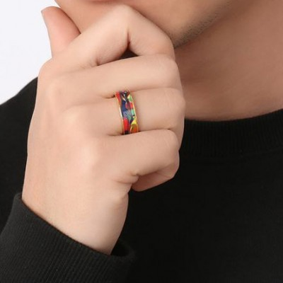 Tinnivi Stylish Oil Painting Gold Titanium Steel Band Ring