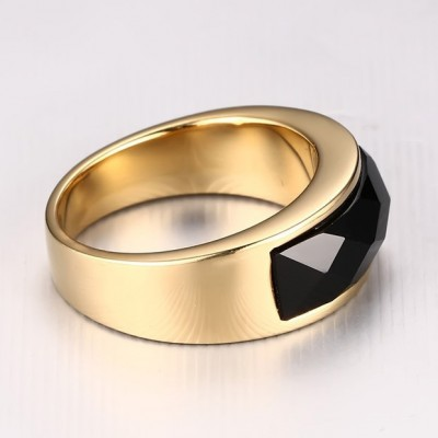 Tinnivi Gold Created Black Agate Titanium Steel Men's Ring