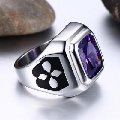 Tinnivi Created Purple Gemstone Silver Titanium Steel Fashion Signet Mens Ring