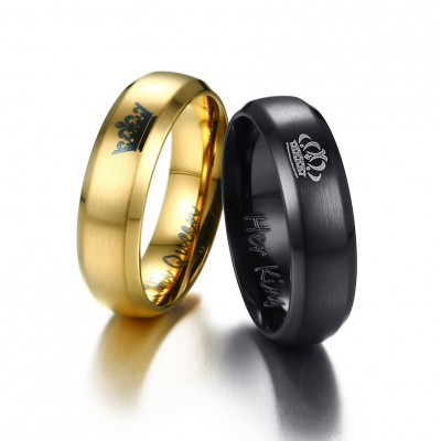 Tinnivi His And Her Love Titanium Steel Crown Band For Couples