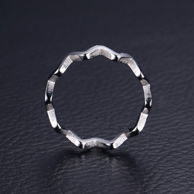 Tinnivi Silver Color Titanium Steel Dainty Wave Womens Band