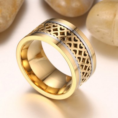 Tinnivi Heart Hollow Out Gold Plated Titanium Steel Mens Band