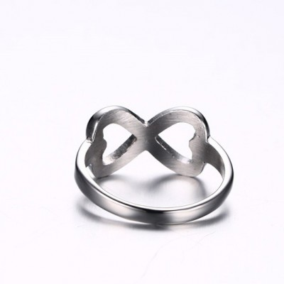 Tinnivi Infinite Love Double Heart Silver Titanium Steel Womens Ring