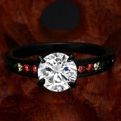 Tinnivi Black Titanium Steel Rainbow Sidestone Round Cut Created White Sapphire Engagement Ring