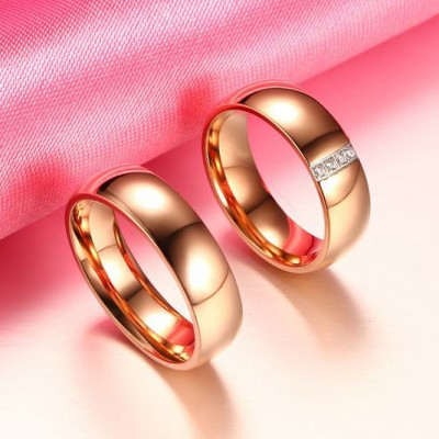 Tinnivi Polished Rose Gold Plated Titanium Steel Created White Sapphire Band For Couples