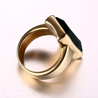 Tinnivi Titanium Steel Gold Plated Baguette Cut Created Black Diamond Mens Ring