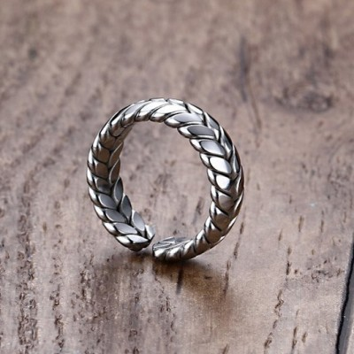 Tinnivi Vintage Titanium Steel Ear of Wheat Shaped Opening Mens Ring
