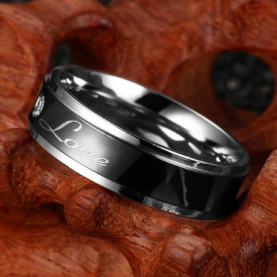 Tinnivi Black Forever Love Inlay Created White Sapphire Titanium Steel Mens Band