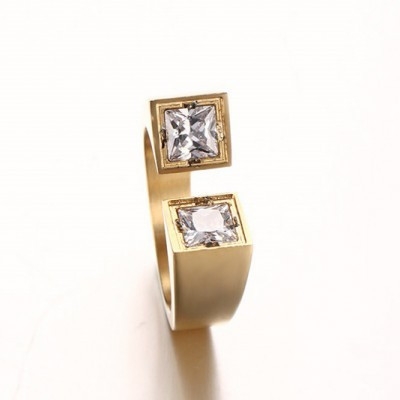 Tinnivi Fashion Two Princess Cut Created White Sapphire Titanium Steel Adjustable Ring