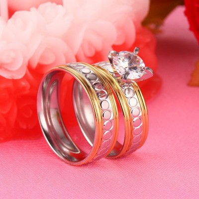 Tinnivi Stylish Round Cut Created White Sapphire Silver And Gold Titanium Steel Rings For Couples