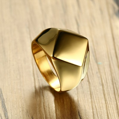 Tinnivi Gold Plated Titanium Steel Stylish Rhomb Mens Band