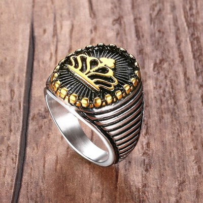 Tinnivi Titanium Steel Retro Gold Crown Ring Mens Rings