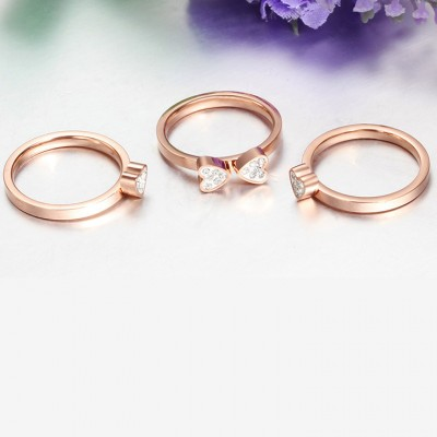 Tinnivi Rose Gold Plated Titanium Steel Love Heart Four-Leaf Lucky Clover Rhinestone Womens Ring Set
