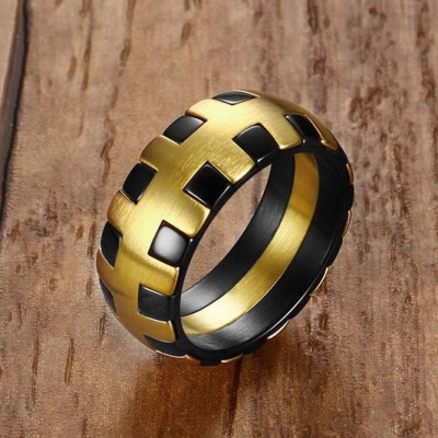 Tinnivi Vintage Black And Gold Titanium Steel Mens Ring