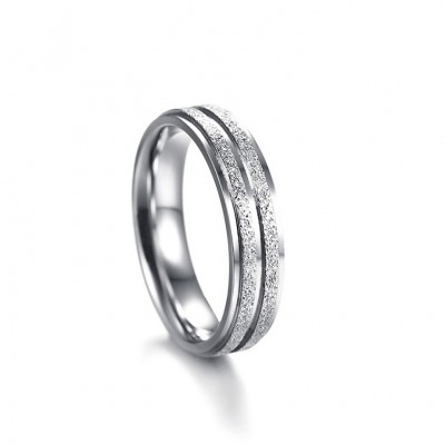Tinnivi Elegant Siver Color Dull Polish Titanium Steel Rings For Couples