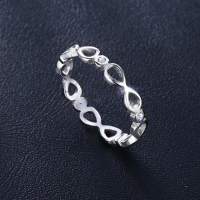 Tinnivi Silver Color Titanium Steel infinite Hollow Out Womens Band