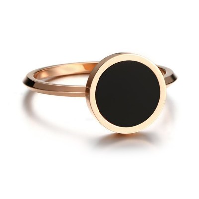 Tinnivi Fashion Black Enamel Rose Gold Titanium Steel Womens Band