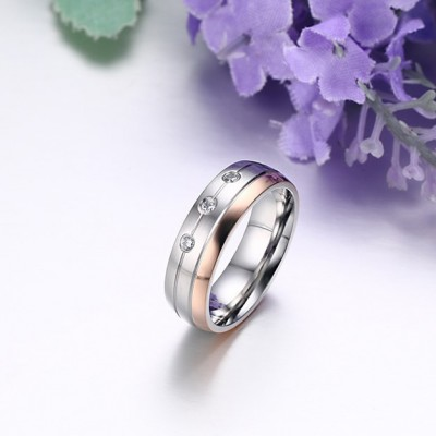 Tinnivi Round Cut Created White Sapphire Silver And Rose Gold Titanium Steel Polished Rings For Couples