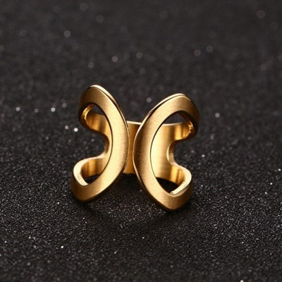 Tinnivi Gold Plated Titanium Steel Butterfly Adjustable Womens Ring