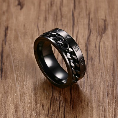 Tinnivi Chain Inlay With Roman Numbers Black Titanium Steel Mens Ring