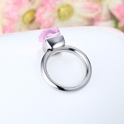 Tinnivi Elegant Titanium Steel Cushion Cut Created Pink Gemstone Womens Ring