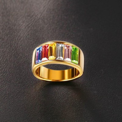 Tinnivi Created Rainbow Gemstone Gold Plated Titanium Steel Ring