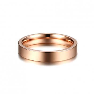 Tinnivi Simple Rose Gold Plated High Polished Titanium Steel Band