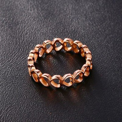 Tinnivi Rose Gold Plated Titanium Steel Hollow Out Heart Design Womens Ring