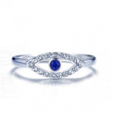 Tinnivi Eyes Design Created Sapphire And Created White Sapphire Titanium Steel Womens Ring