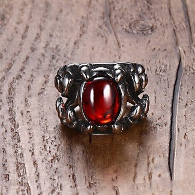 Tinnivi Vintage Created Ruby Dragon Claw Titanium Steel Mens Ring