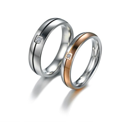 Tinnivi Black And Rose Gold Created White Sapphire Titanium Steel Rings For Couples