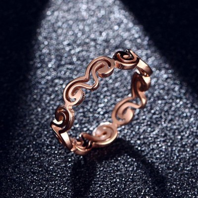 Tinnivi Fashion Hollow Out Wave Rose Gold Titanium Steel Ring