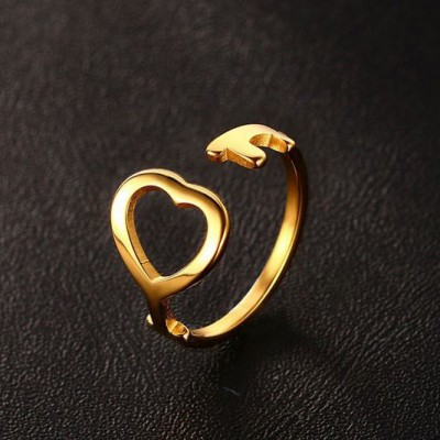Tinnivi Gold Titanium Steel Heart Hollow Out Adjustable Womens Ring
