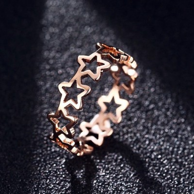 Tinnivi Simple Rose Gold Titanium Steel Pentagram Hollow Out Womens Ring