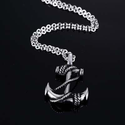 Tinnivi Nautical Anchor Titanium Steel Pirate Pendant Necklaces For Men