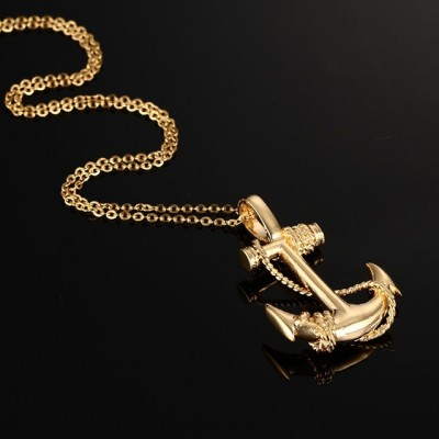 Tinnivi Gold Titanium Steel Nautical Anchor Pirate Pendant Necklaces For Men