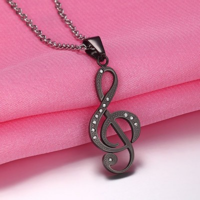 Tinnivi Musical Note Pendant Black Titanium Steel Chain Necklace