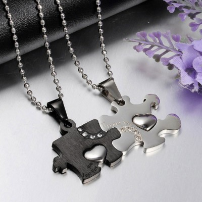 Tinnivi Titanium Steel Jigsaw Pendant Necklace For Couples