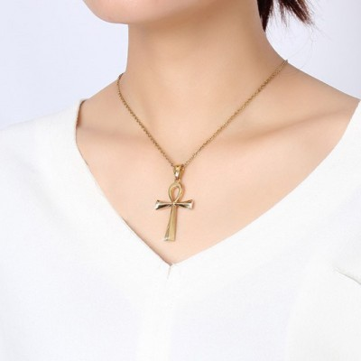 Tinnivi Ancient Egyptian Smooth Anka Cross Pendant Gold Titanium Steel Necklace