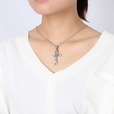 Tinnivi Silver Color Titanium Steel Ancient Egyptian Smooth Anka Cross Pendant Necklace