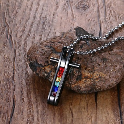 Tinnivi Rainbow Created Gemstone Cross Pendant Black Titanium Steel Necklace