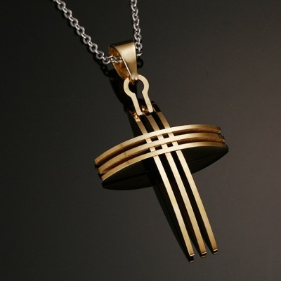 Tinnivi Stylish Titanium Steel Gold Plated Cross Pendant Necklace With Chain for Men Women