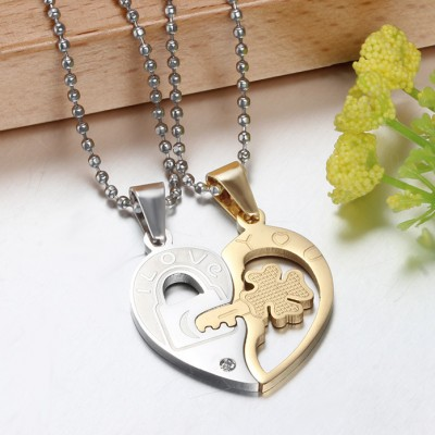 Tinnivi Silver And Gold Titanium Steel Key to Heart Pendant Necklace With Chain For Couples