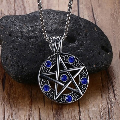 Tinnivi Titanium Steel Powerful Pentacle Necklaces For Men