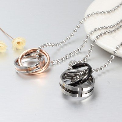 Tinnivi His And Hers Couples Double Ring Titanium Steel Pendant Necklace