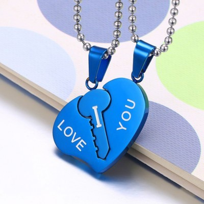 Tinnivi Titanium Steel I LOVE YOU Key To Heart Pendant Necklace For Couples