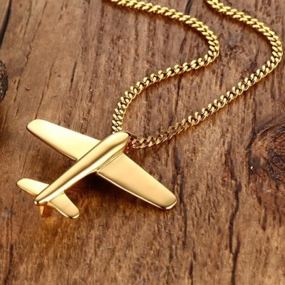 Tinnivi Gold Titanium Steel Paper Airplane Pendant Necklace