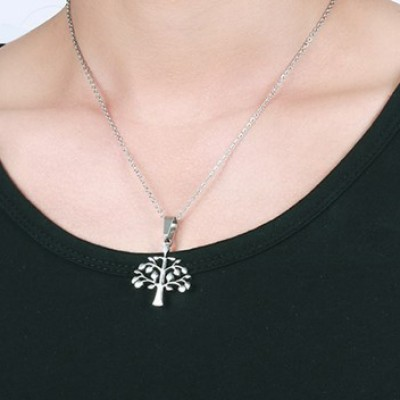 Tinnivi Silver Color Titanium Steel Lucky Tree Pendant Necklace