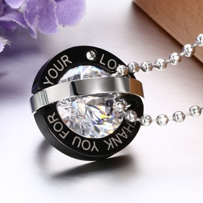 Tinnivi Black Silver Titanium Steel Created White Sapphire Round Pendant Couples Necklaces