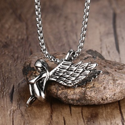 Tinnivi Titanium Steel Angels Wings Pendant Necklace
